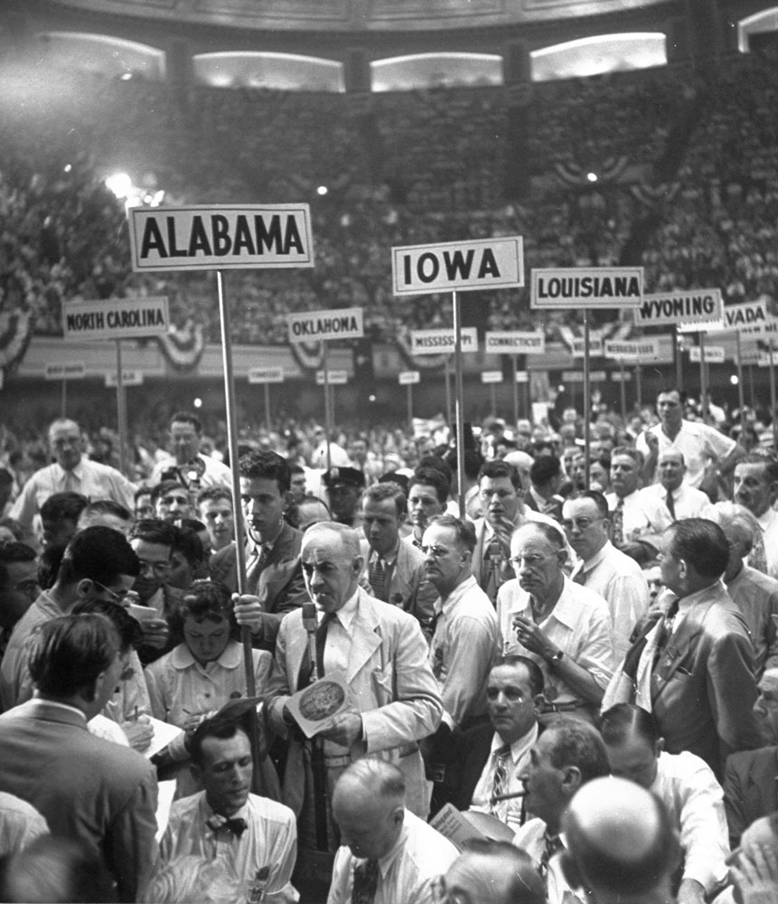 """Alabama delegation leader Handy Ellis (center) on the floor during the 1948 Democratic National Convention in Philadelphia. Ellis,a """"Dixiecrat,"""" would eventually lead a walkout over the Democratic platform plank supporting civil rights."""