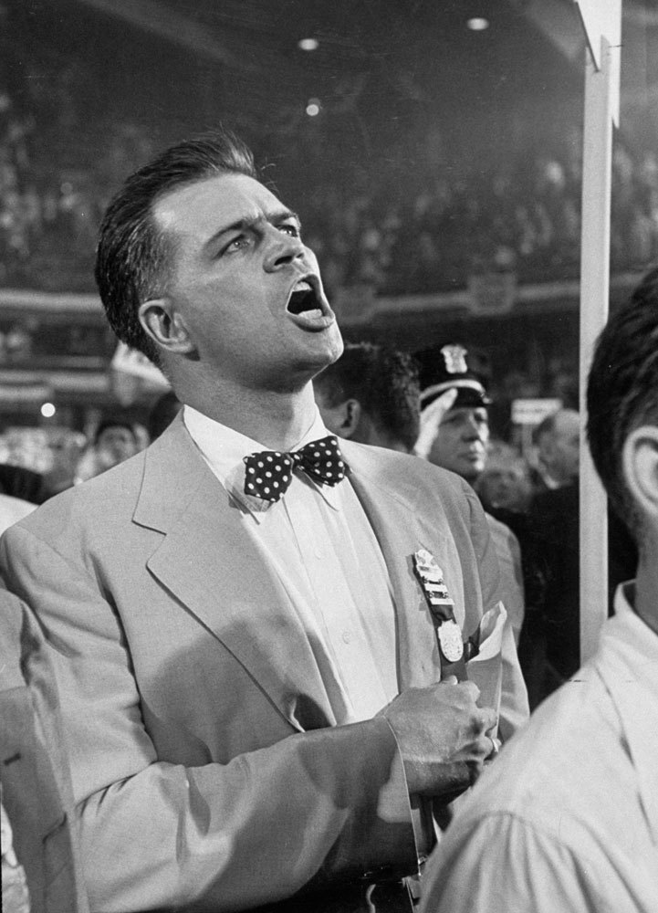 Soapy Williams sings the Star Spangled Banner during the 1952 Democratic convention in Chicago.