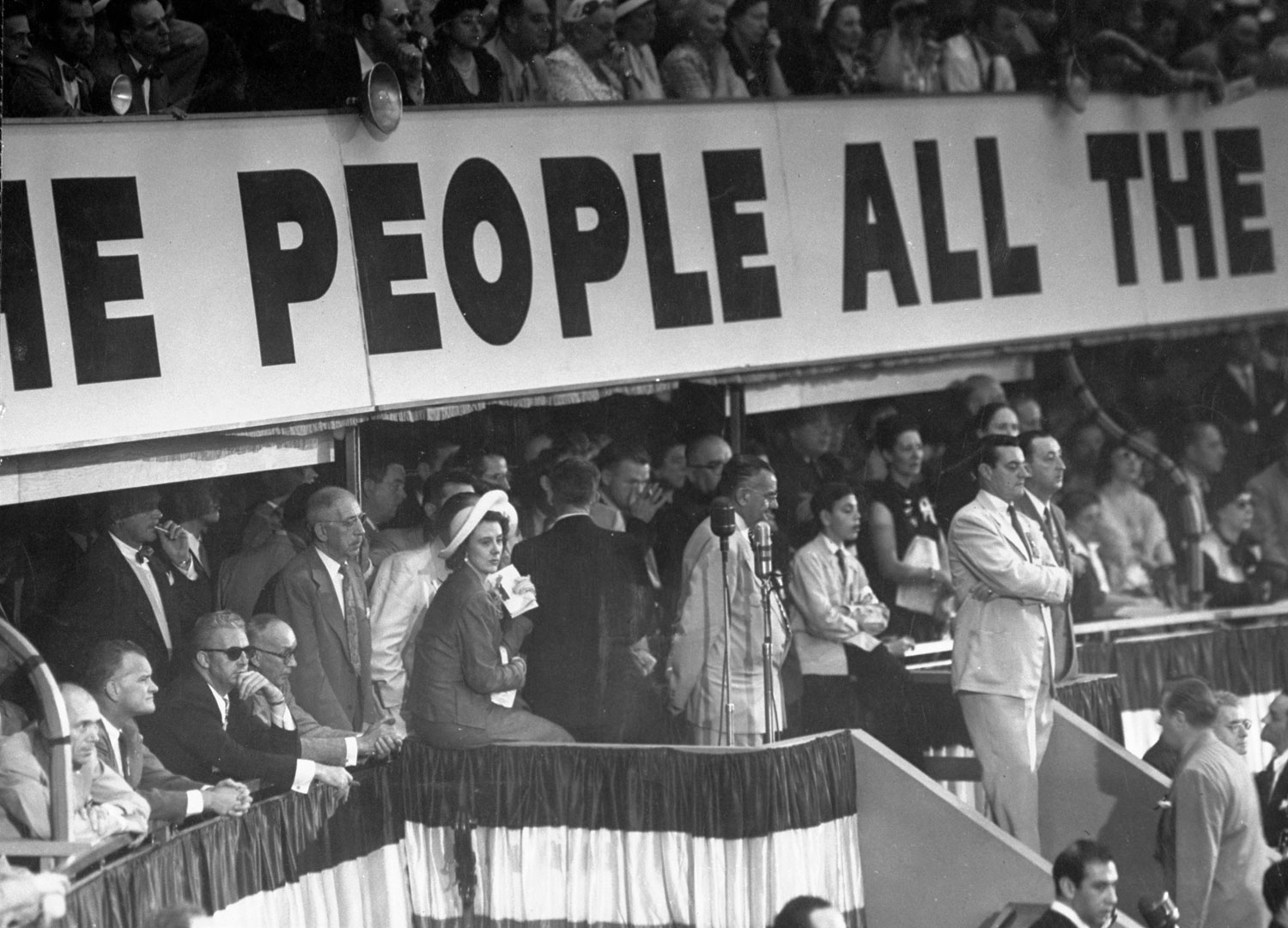 Mrs. Estes Kefauver (center, in white hat) watching the action at the 1952 Democratic National Convention in Chicago.