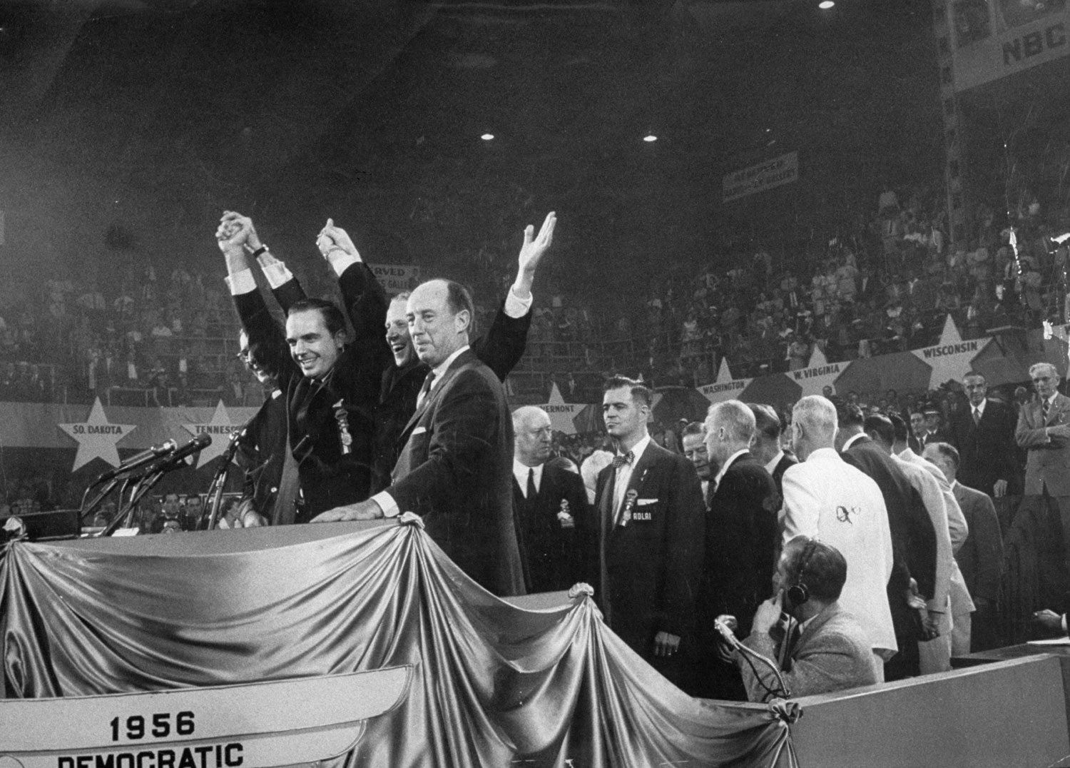 Left to right: Senator Estes Kefauver, Gov. Frank Clement, Sen. Albert Gore and candidate Adlai Stevenson at the 1956 Democratic National Convention in Chicago.