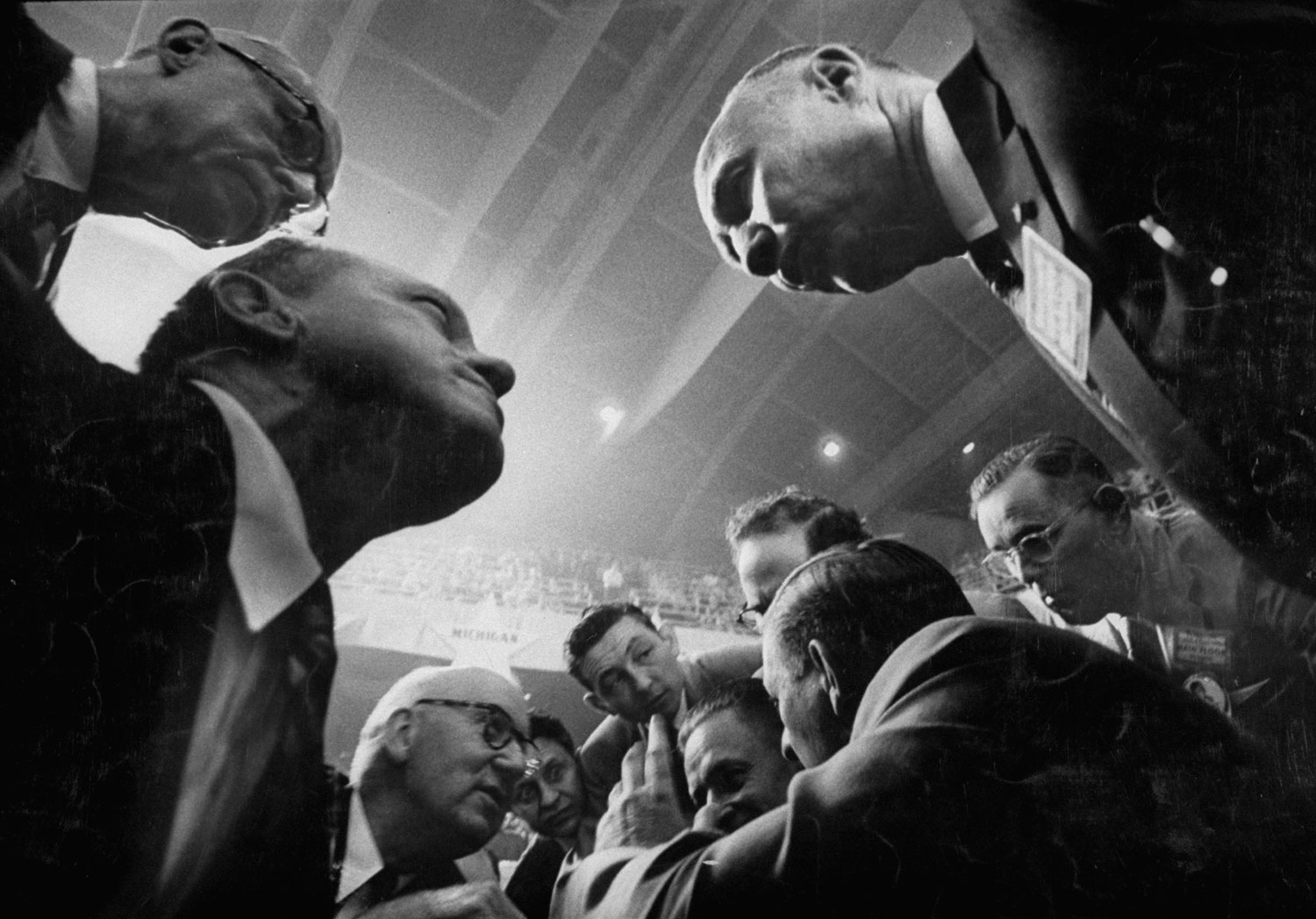 Delegates strategize on the floor during the 1956 Democratic National Convention in Chicago.