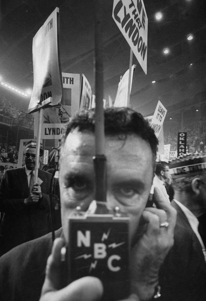 Two-way radios were used to interview delegates on the floor at the 1956 Democratic National Convention in Chicago.