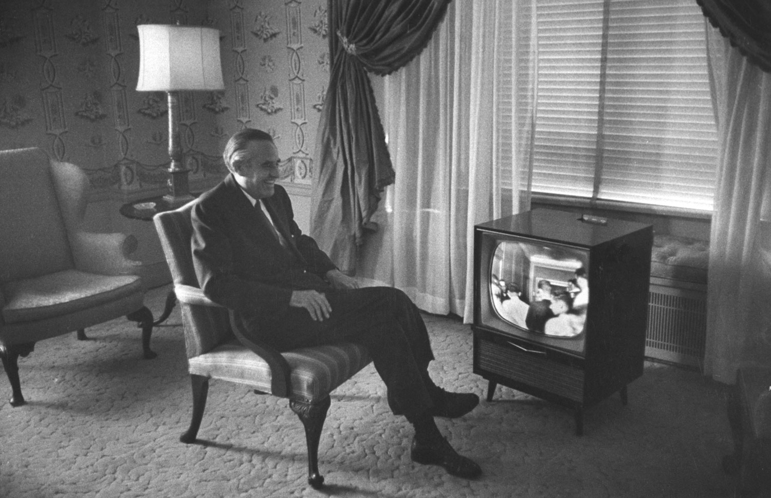 Democratic politician Averell Harriman watches former President Harry S. Truman support him during  the 1956 Democratic National Convention in Chicago. Harriman lost the nomination to Adlai Stevenson that year, and in 1952.