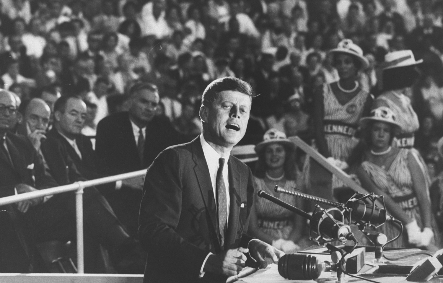 <b>Not originally published in LIFE.</b> Senator John F. Kennedy speaks at the 1960 Democratic National Convention in Los Angeles.