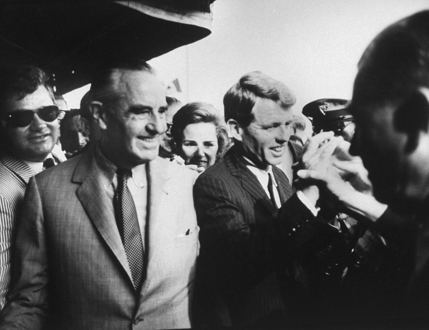 Robert F. Kennedy (right), his wife Ethell and Democratic stalwart Averell Harriman at a reception for Jackie Kennedy during the 1964 Democratic National Convention in Atlantic City, New Jersey.