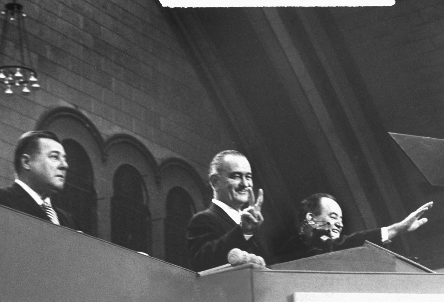 President Lyndon Johnson with his running mate Hubert Humphrey during the 1964 Democratic National Convention in Atlantic City, New Jersey.
