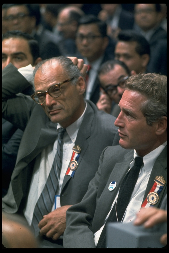 <b>Not originally published in LIFE.</b> Connecticut delegates and Eugene McCarthy supporters Paul Newman (right) and playwright Arthur Miller during the contentious 1968 Democratic National Convention in Chicago.