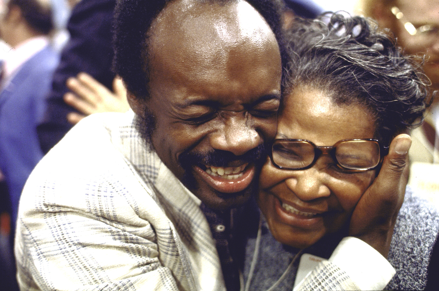 George McGovern delegation co-chair Willie Brown, Jr.—later the powerful, long-time Speaker of the California State Assembly and, eventually, the mayor of San Francisco—embraces an unidentified woman during the 1972 Democratic National Convention in Miami Beach. McGovern would win his party's nomination, but was crushed by Richard Nixon during the presidential election, winning only Massachusetts and the District of Columbia.