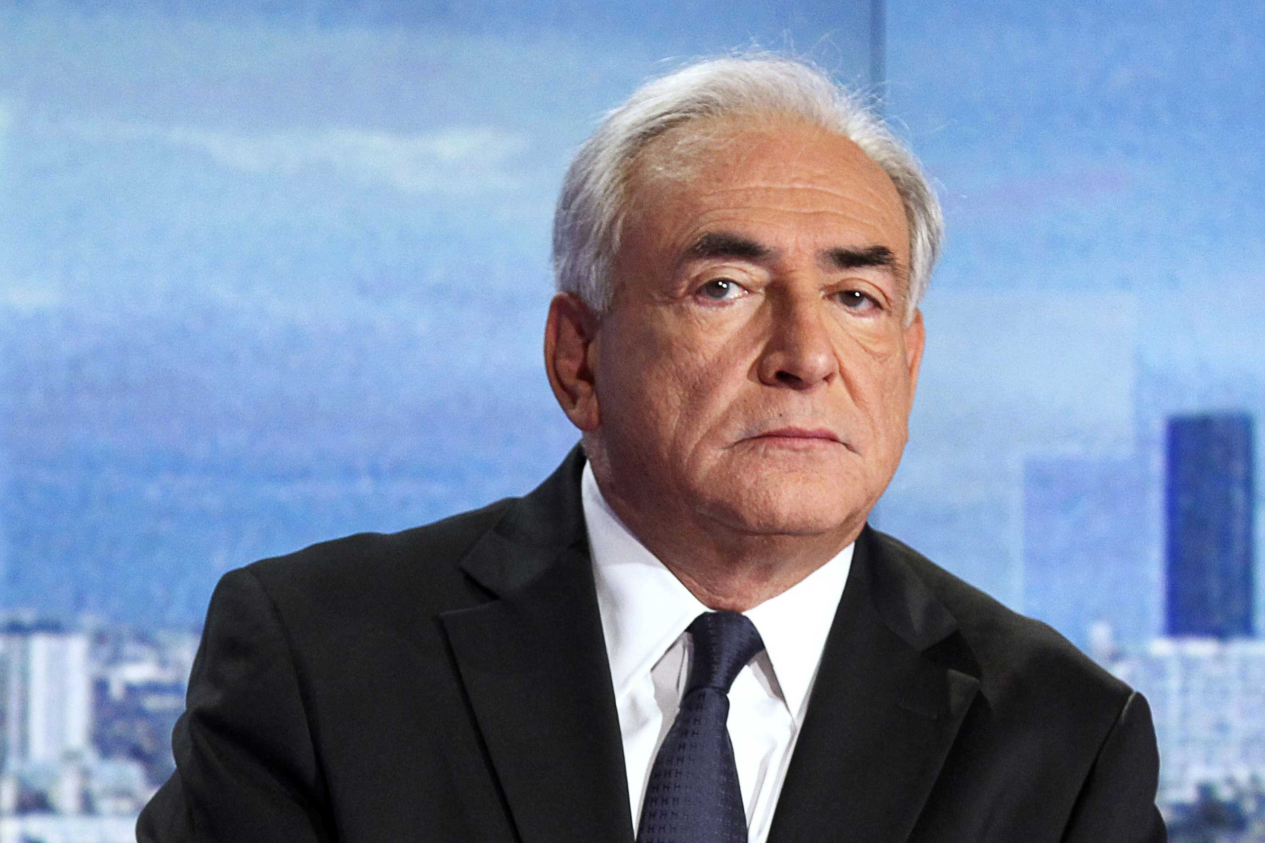 Former International Monetary Fund chief Dominique Strauss-Kahn takes part in the news broadcast of French TV station TF1, in Boulogne-Billancourt, France on Sept. 18, 2011.