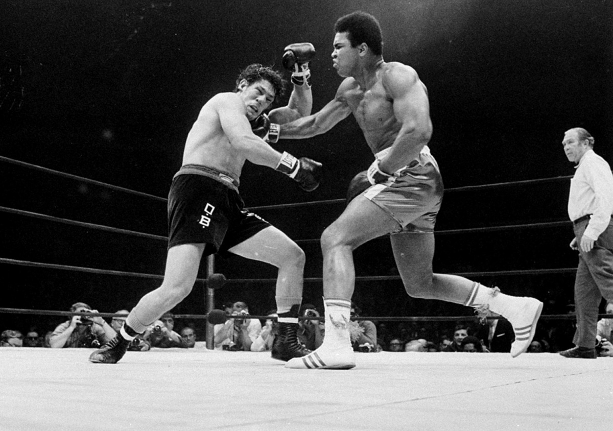 Muhammad Ali vs Oscar Bonavena at Madison Square Garden, New York City, 1970                                                              Dustin Hoffman:  In December 1970, I met him before his fight with Oscar Bonavena at Madison Square Garden. I think it was pretty soon after he was allowed to fight again after being suspended for not going into service— which, I think was a huge statement. I remember in an interview with Muhammad Ali, in 1969, after he refused to fight in the Vietnam War, Ali said, 'I ain't got no quarrel with them Viet Cong. No Viet Cong ever called me a nigger.' It would have been sacrificing years of his career at a pivotal time— atheletes have such a short shelf life and it would have put his body in compromise. That night before the fight, Muhammad recognized me and called me over and started announcing to everybody, 'Midnight Cowboy! Midnight Cowboy!' He took me with him as we walked into the arena, and he spotted some college kids practicing basketball. He signaled for them to pass him the ball, and Muhammad, at mid-court, swept the ball over his shoulder and it swished into the basket. I watched his face very carefully for his reaction— to see if he was a surprised as everyone else was— but he contained his expression, like it was an everyday event for him. He was simply magical.                                                               Dustin Hoffman is a renowned film and television actor.