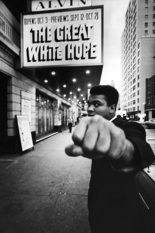 Ali at the Alvin Theater, New York City, 1968                               James Earl Jones:  This young American man! To all of us he is forever young — young in brash, bold self-proclamation! When he came and saw The Great White Hope, he mounted the stage and proclaimed, 'This is my story!'  And when I see his eyes now, the twinkle still shines through.                                James Earl Jones is a Tony Award–winning actor.