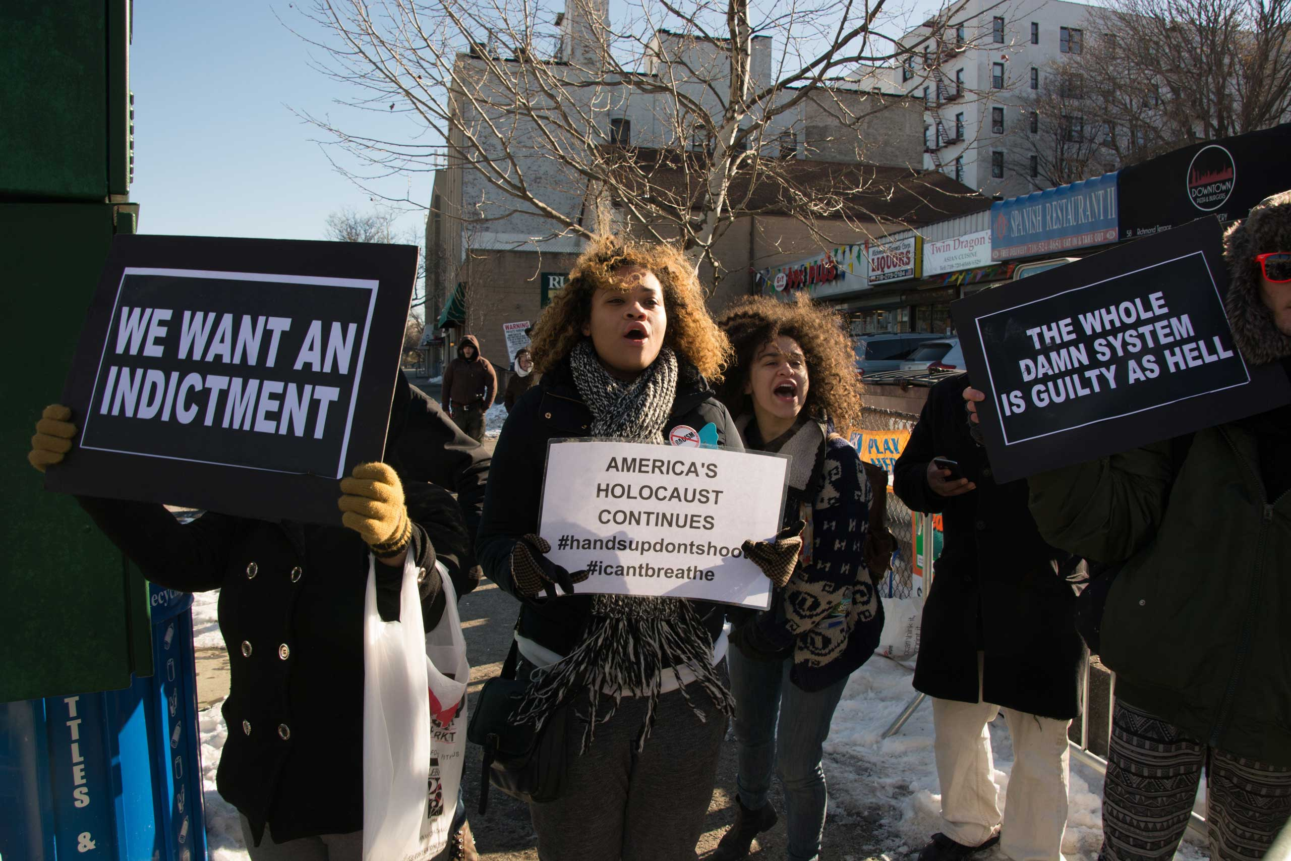 Demonstrators protest over the Eric Garner grand jury decision in Staten Island, N.Y. on Jan. 31, 2015.