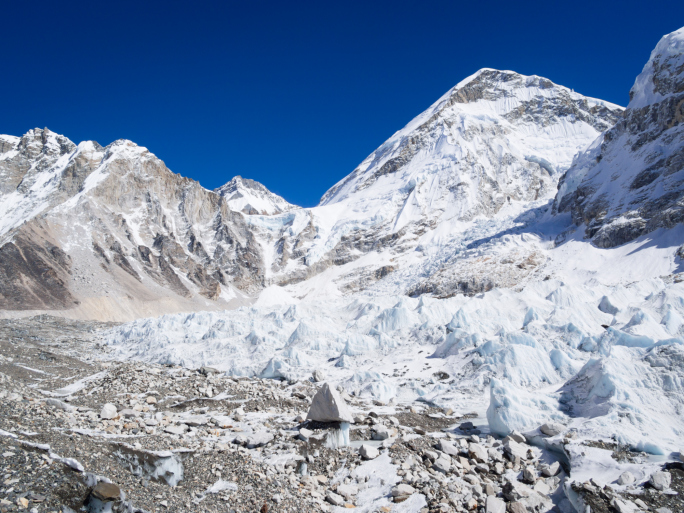 Everest Base Camp site on Khumbu Glacier