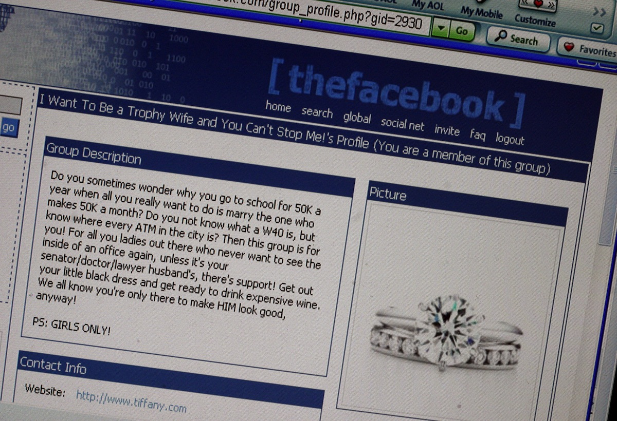 What a group page looked like on thefacebook.com in 2004
