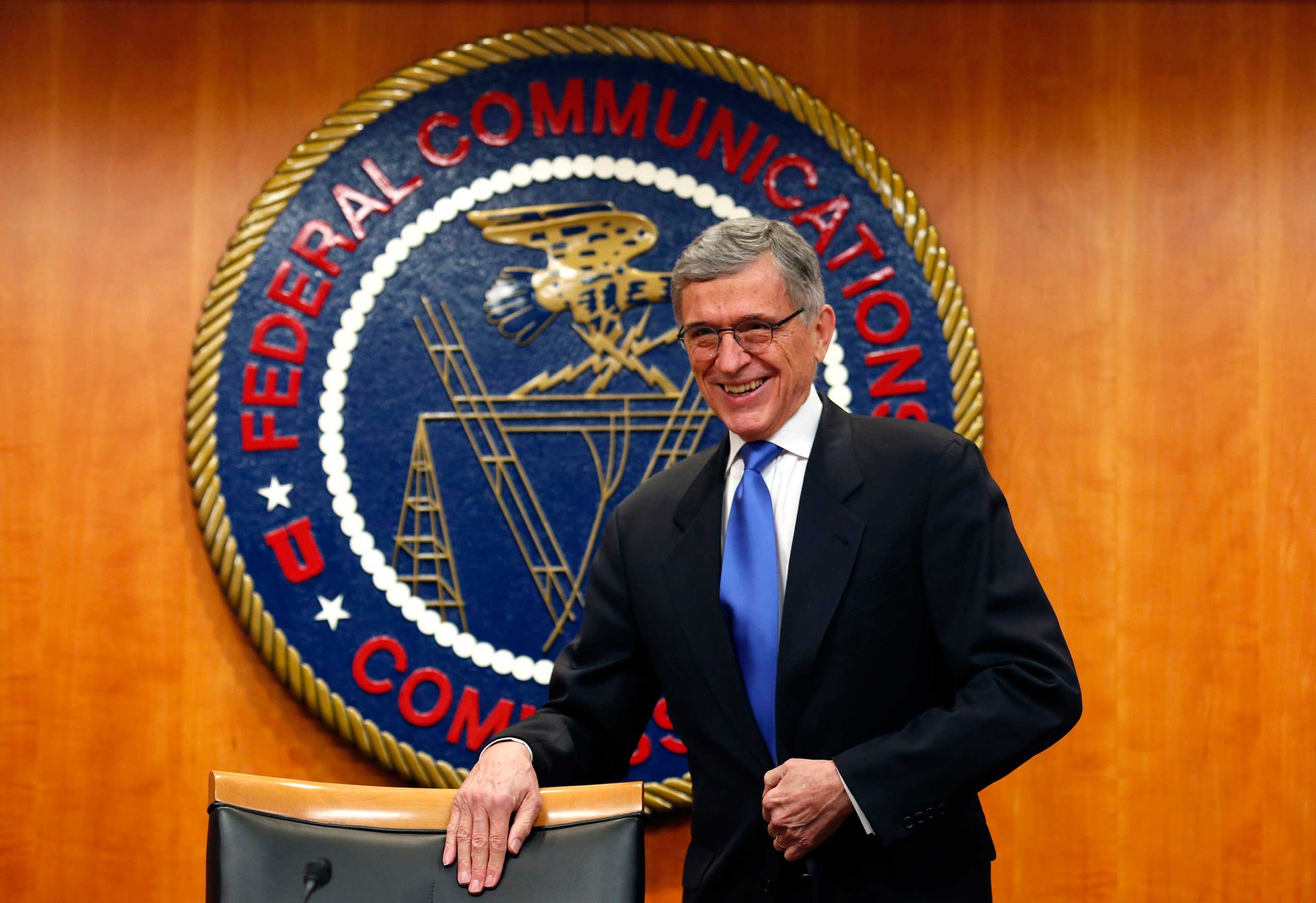 Federal Communications Commission (FCC) Chairman Tom Wheeler arrives at a FCC Net Neutrality hearing in Washington on Feb. 26, 2015.
