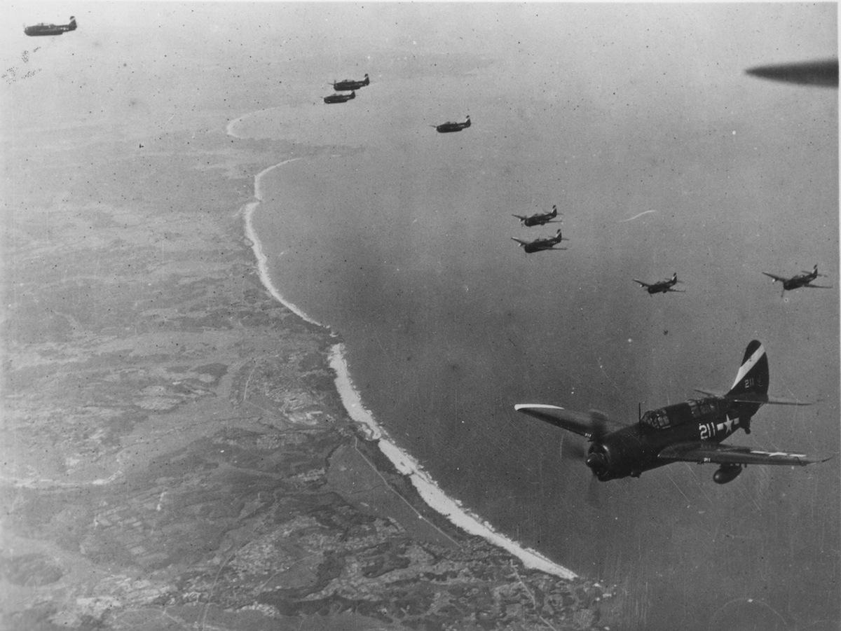 Carrier-based fighter planes Tokyo-bound over Japan during World War II, 1940s.