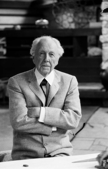 """Frank Lloyd Wright 89, works 12-hour day running fellowship for aspiring architects, dances and swims, says: """"The more I abused my physical resources, the more I had."""""""