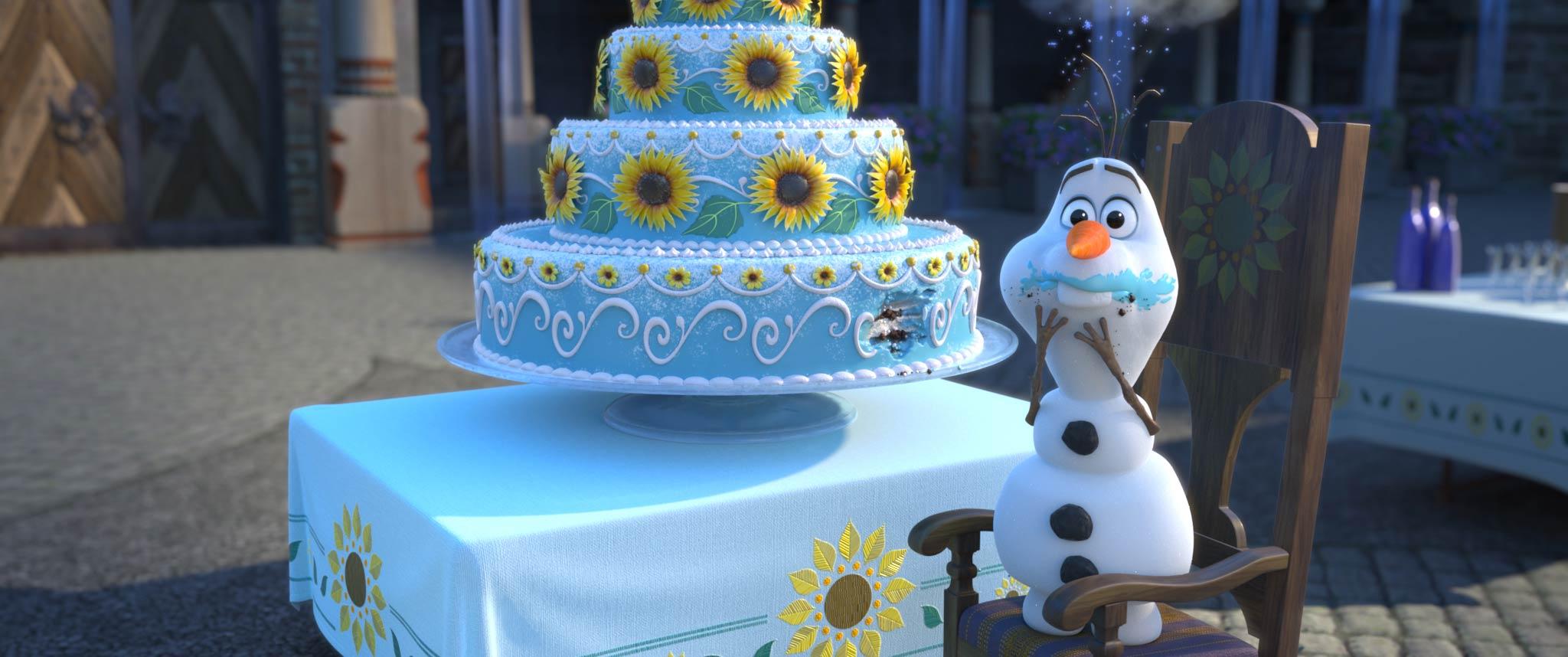 Olaf sneaks a taste of Anna's birthday cake.