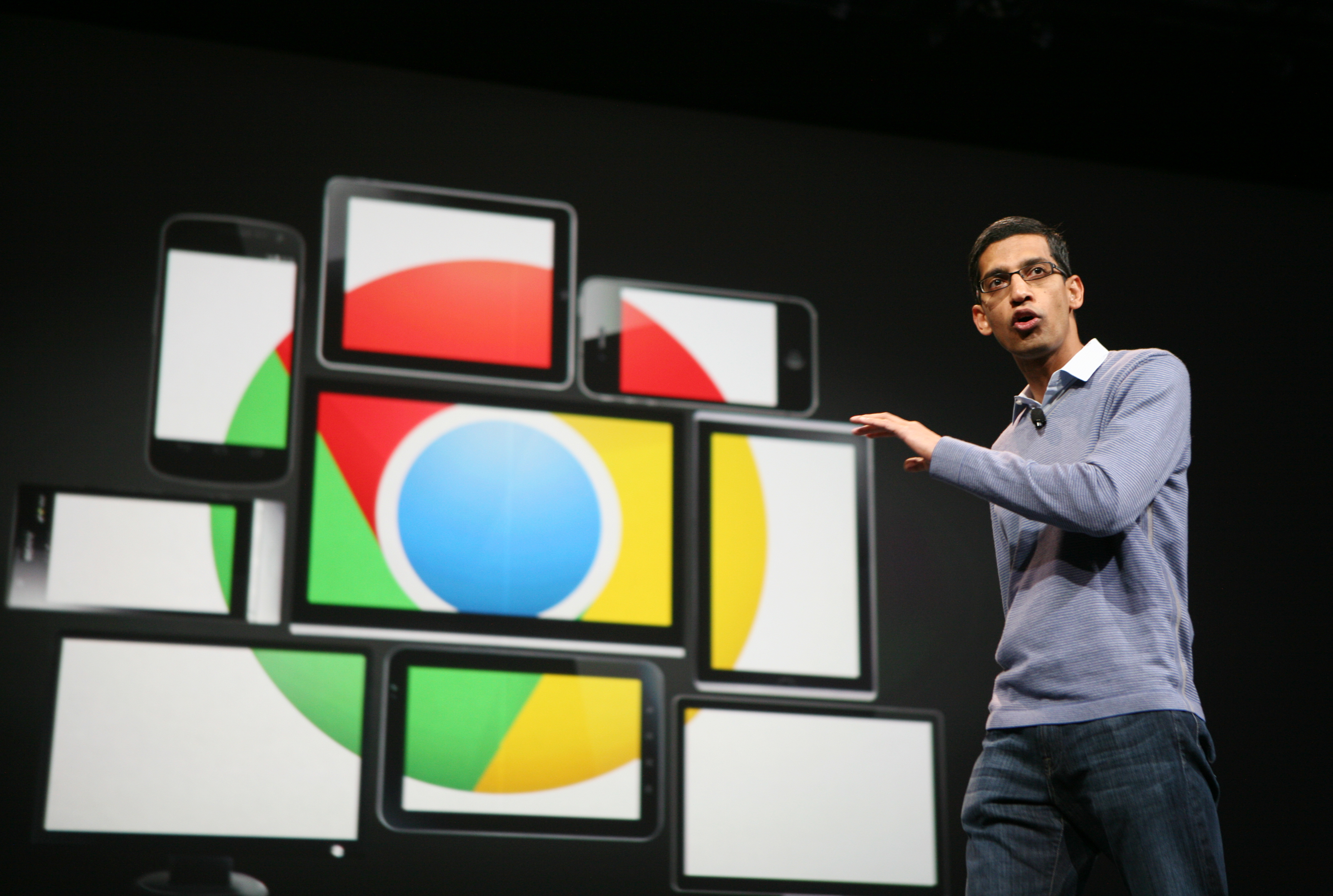 Sundar Pichai, senior vice president of Chrome, speaks at Google's annual developer conference, Google I/O, in San Francisco on June 28, 2012.