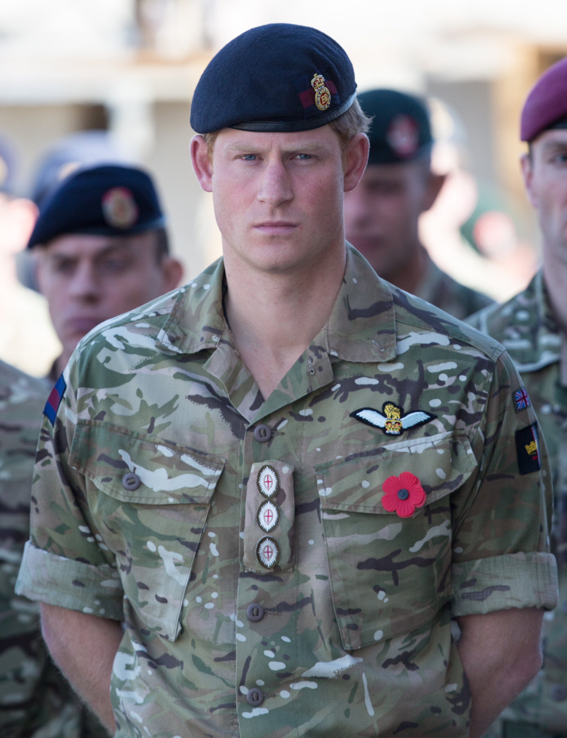 Prince Harry at a Remembrance Sunday service at Kandahar Airfield in Afghanistan on Nov. 9, 2014.