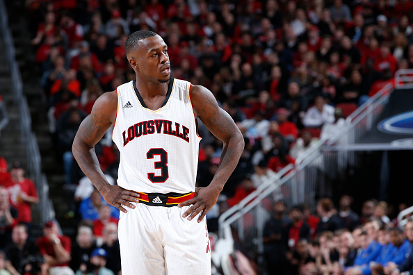 Chris Jones of the Louisville Cardinals looks on against the Duke Blue Devils during the game at KFC Yum! Center in Louisville, Kentucky, on Jan. 17, 2015