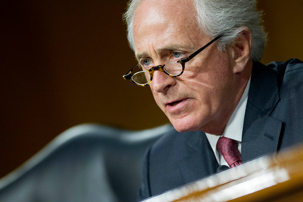 Senator Bob Corker questions Janet Yellen, chair of the U.S. Federal Reserve, during a Senate Banking Committee hearing in Washington on Feb. 24, 2015
