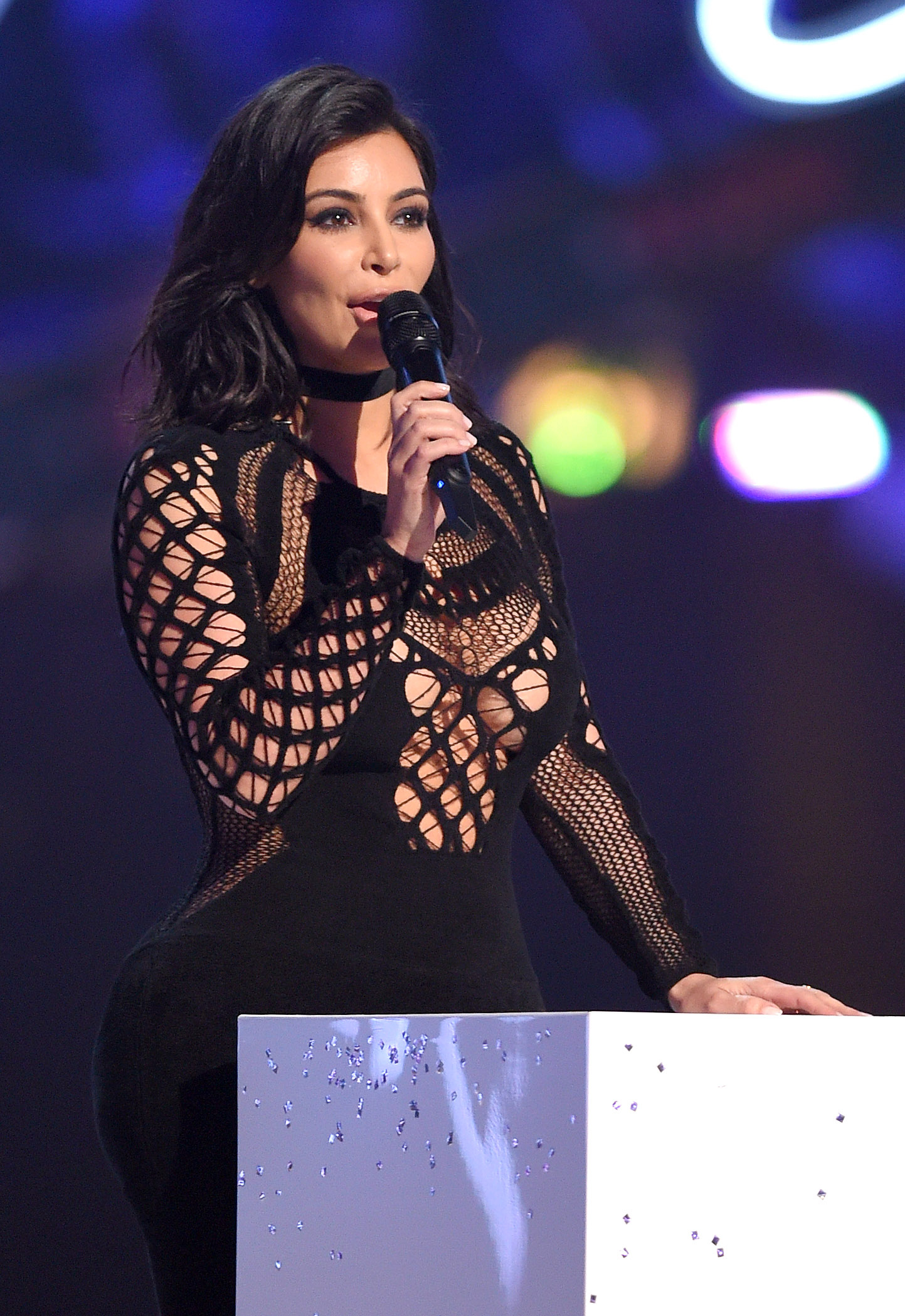 Kim Kardashian on stage at the BRIT Awards 2015 at The O2 Arena on February 25, 2015 in London, England.