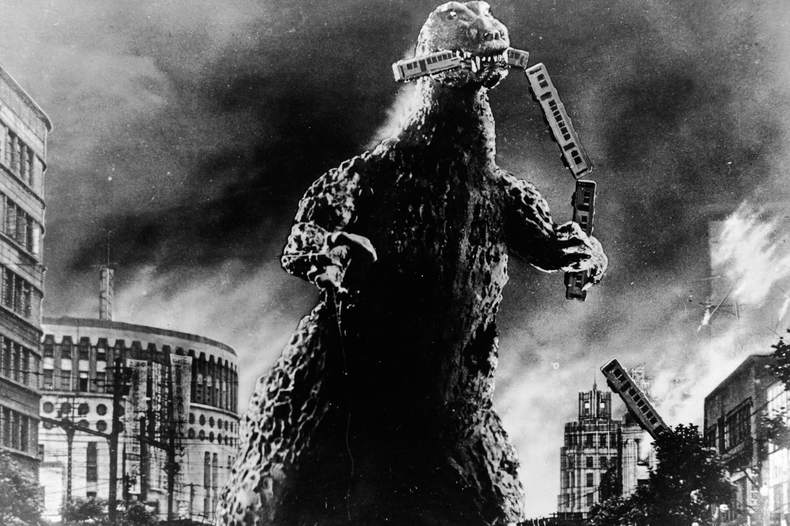 Godzilla is seen in a scene from Godzilla, King of the Monsters!, 1956.
