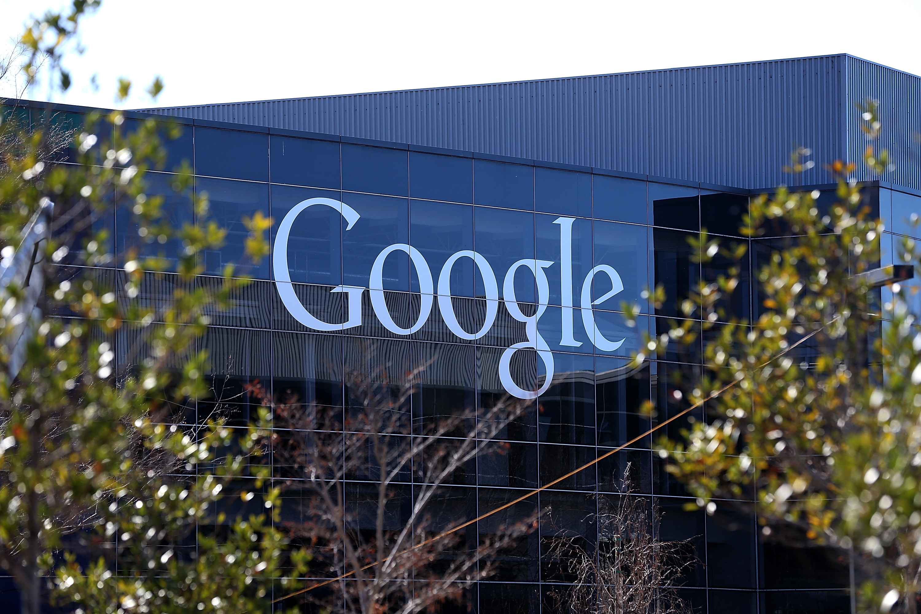 A sign is posted on the exterior of Google headquarters on Jan. 30, 2014 in Mountain View, California.