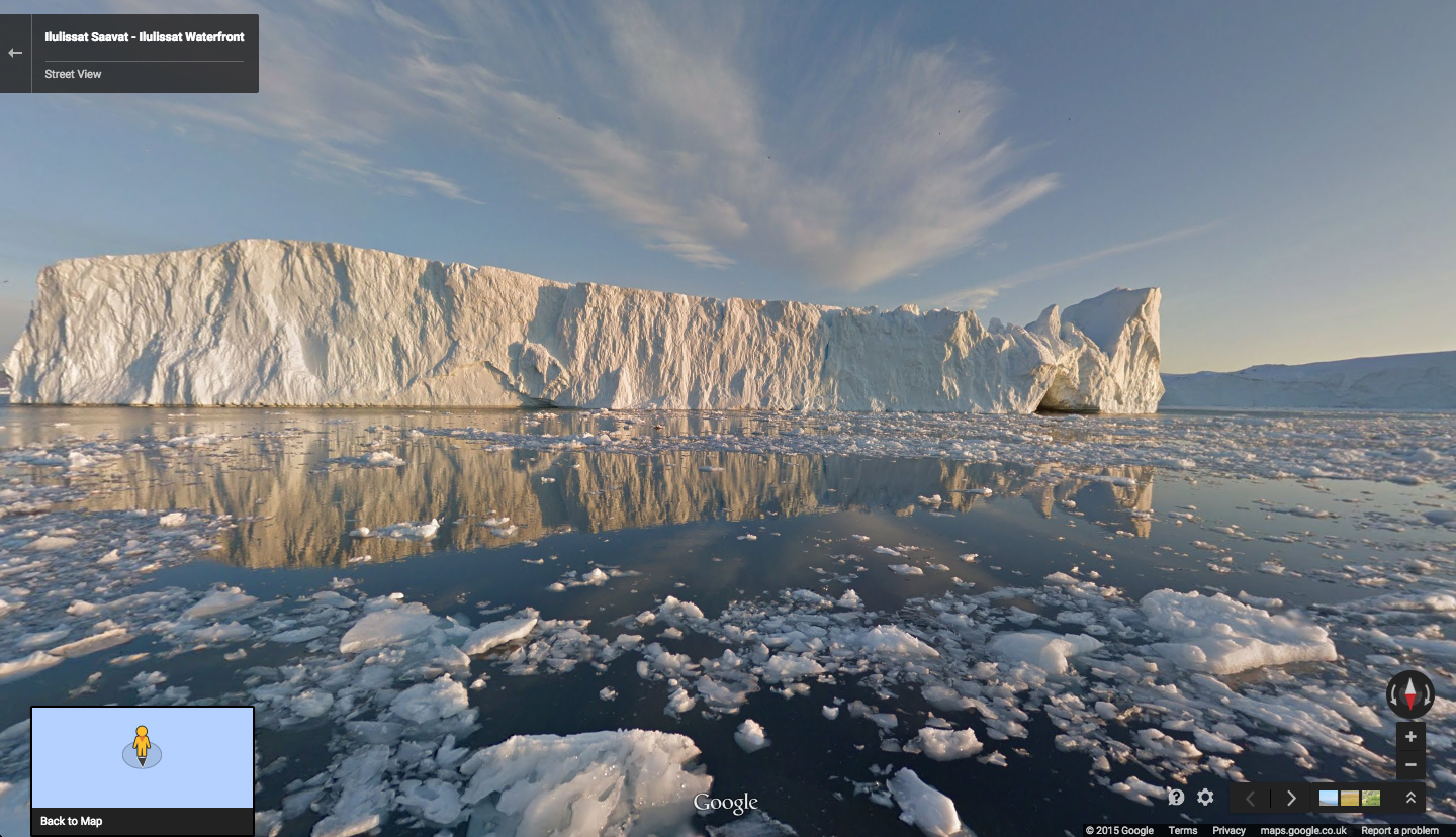 The lulissat Icefjord in Greenland as seen on Street View in Google Maps.