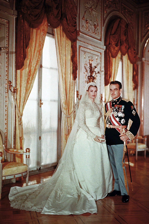 Portrait of Rainier III, Prince of Monaco and Princess Grace (Grace Kelly) on their wedding day on April 19, 1956 in Monaco.