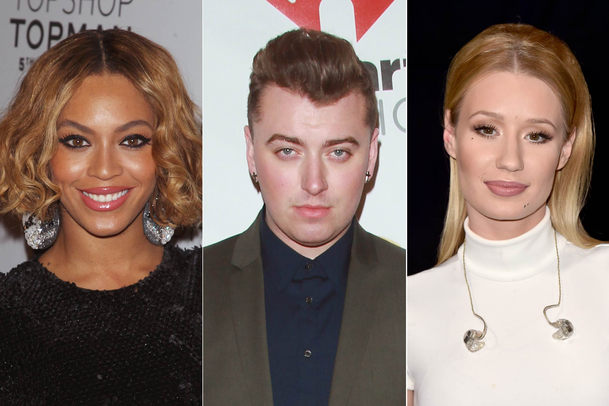 From left: Beyoncé, Sam Smith, Iggy Azalea