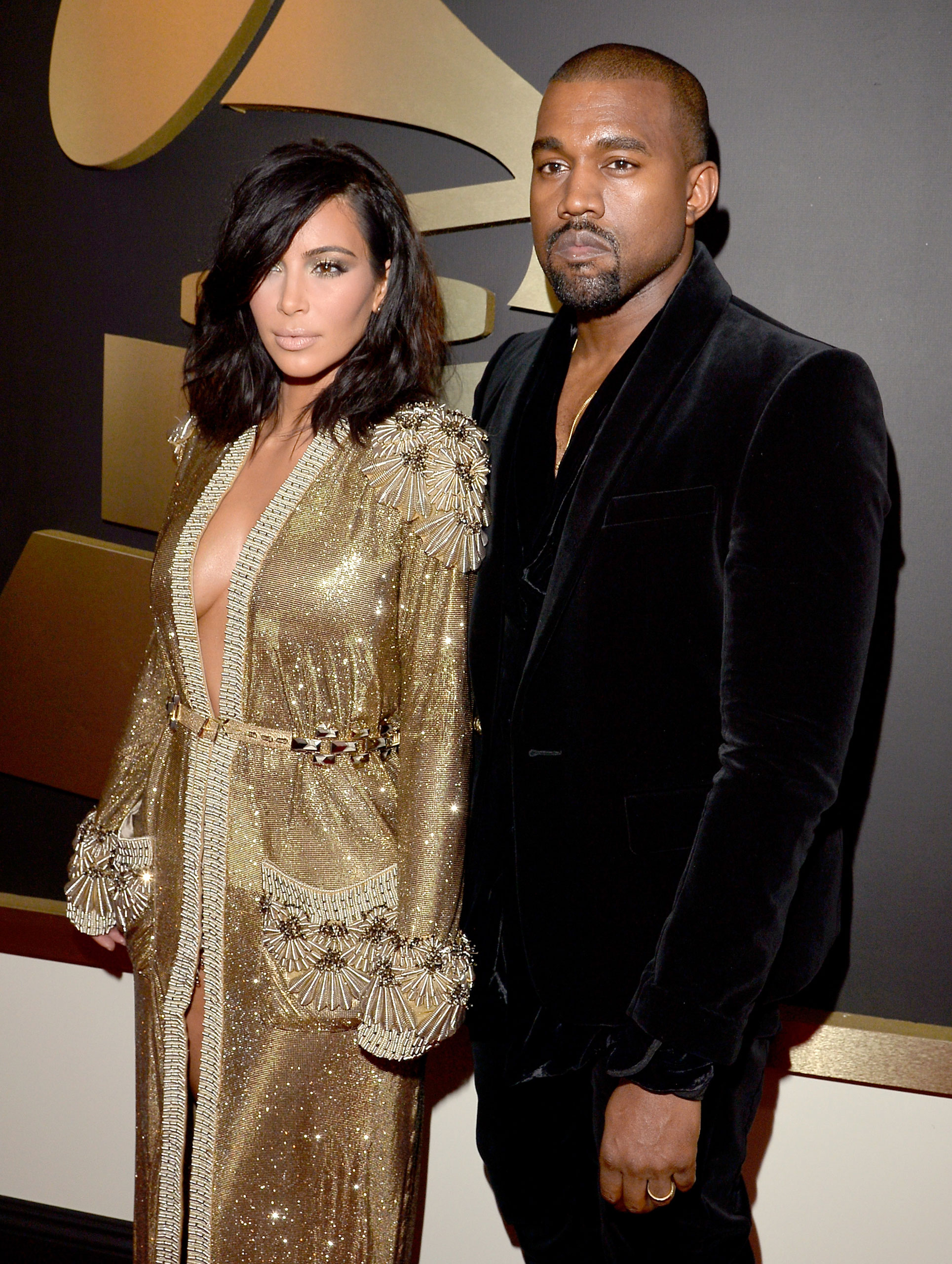 Kim Kardashian and Kanye West attend the 57th Annual Grammy Awards at the Staples Center on Feb. 8, 2015 in Los Angeles, Calif.