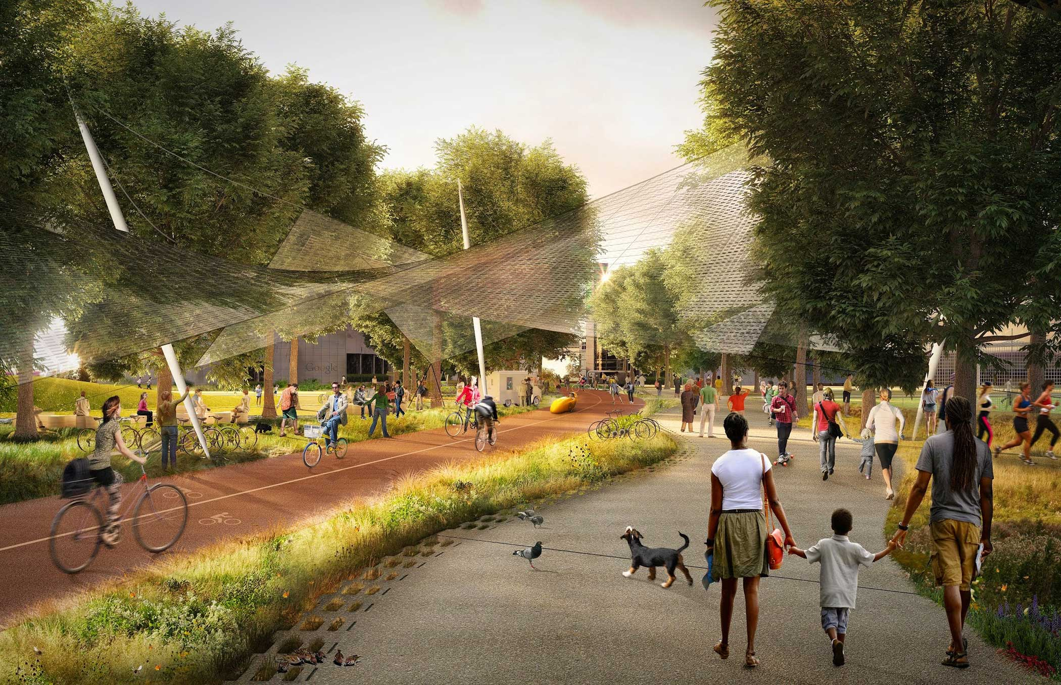 Mountain View's Precise Plan encourages the creation of a diverse network of public and private open spaces such as plazas, parks and trails.                                                                      This rendering shows the Green Loop, a circuit for bikes and pedestrians that weaves through urban and natural areas. A solar canopy produces energy and also protects bicyclists from the rain.