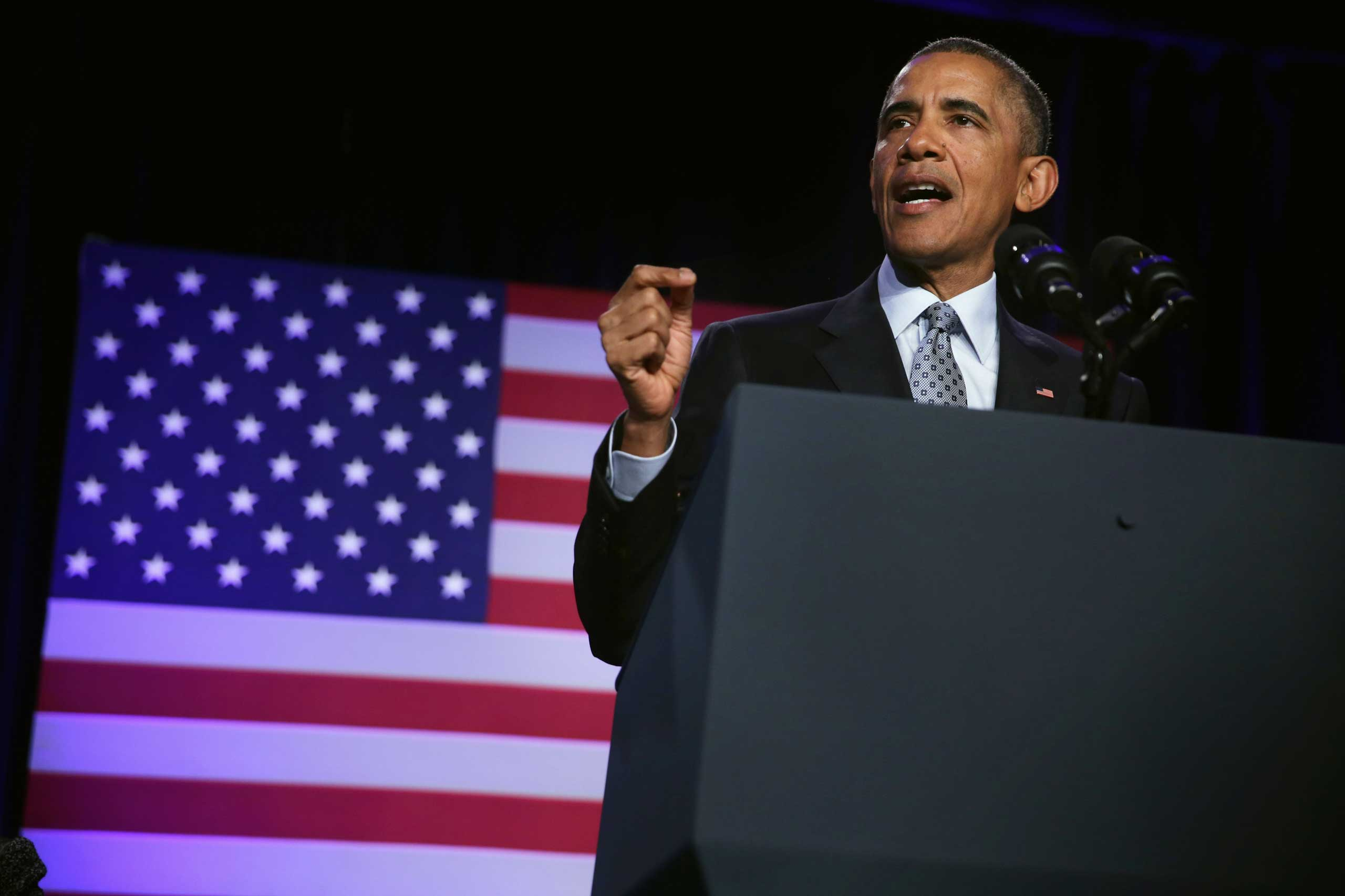 President Barack Obama speaks during the General Session of the 2015 DNC Winter Meeting in Washington, DC, Feb. 20, 2015.