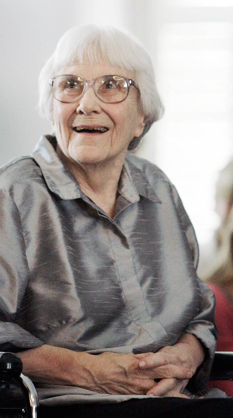 Harper Lee smiles during a ceremony honoring the four new members of the Alabama Academy of Honor at the Capitol in Montgomery, Ala. on Aug. 20, 2007.