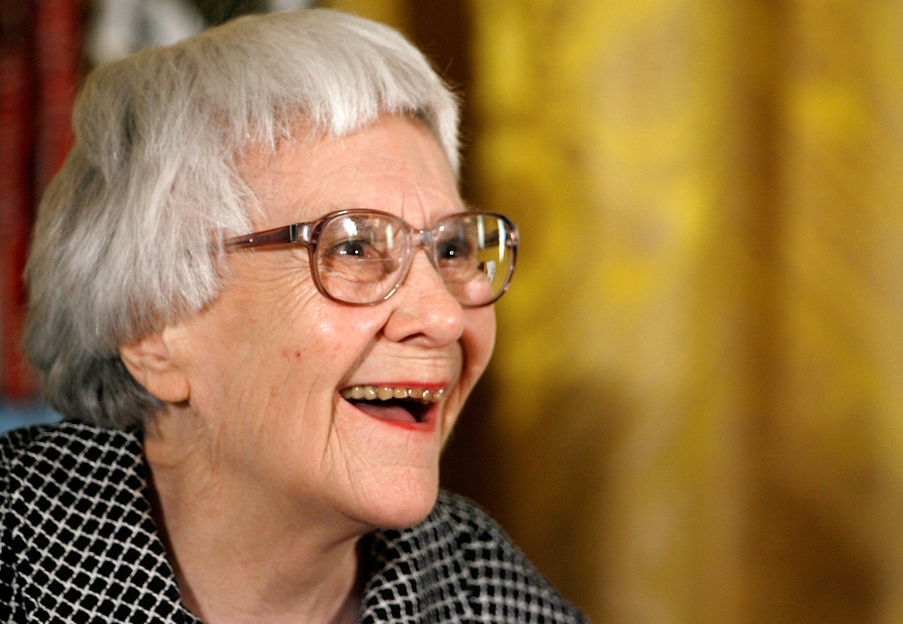 Pulitzer Prize winner and To Kill A Mockingbird author Harper Lee smiles before receiving the 2007 Presidential Medal of Freedom at the White House on Nov. 5, 2007 in Washington, DC.