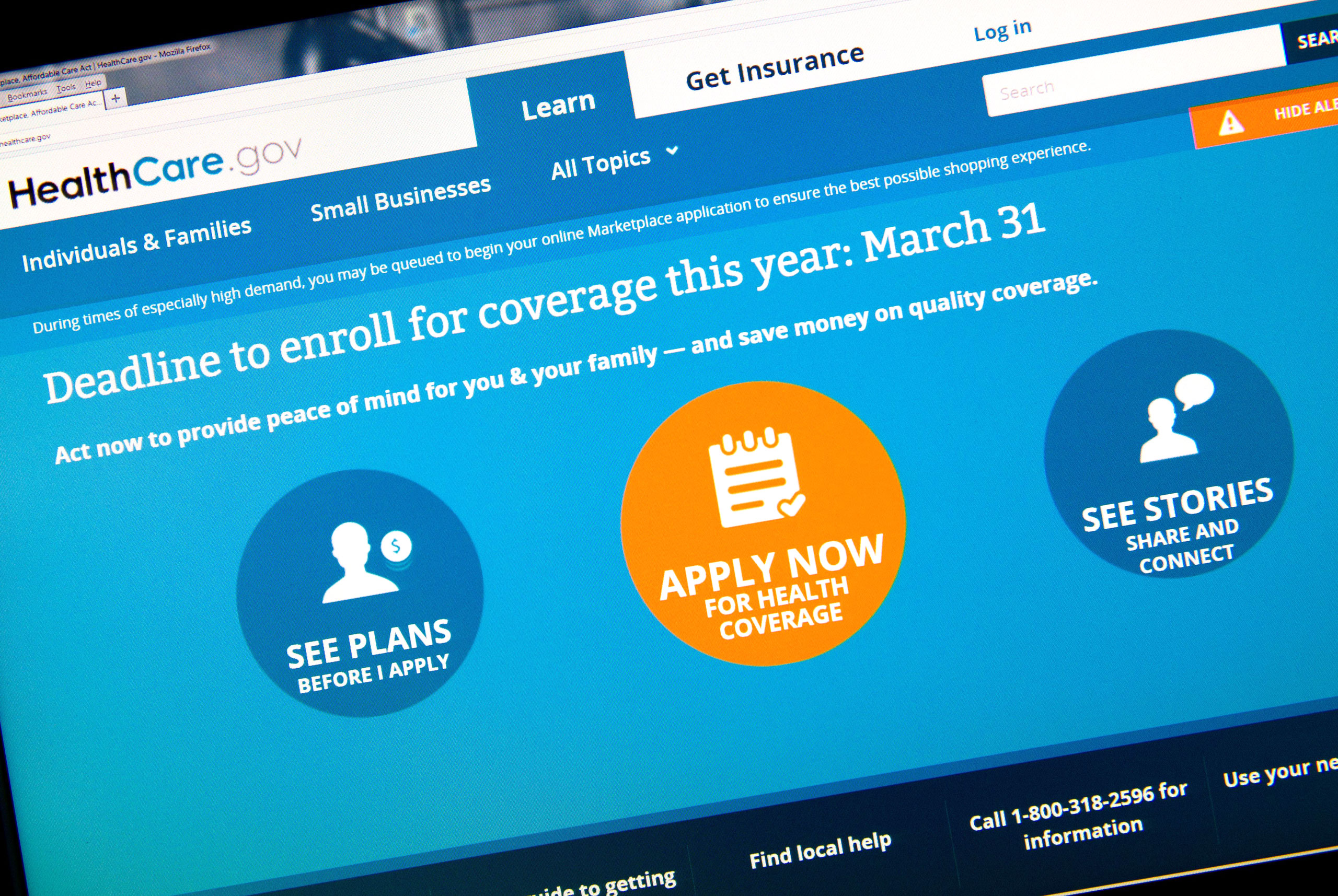 This image shows the home page for the HealthCare.gov internet site, taken on March 31, 2014 in Washington.