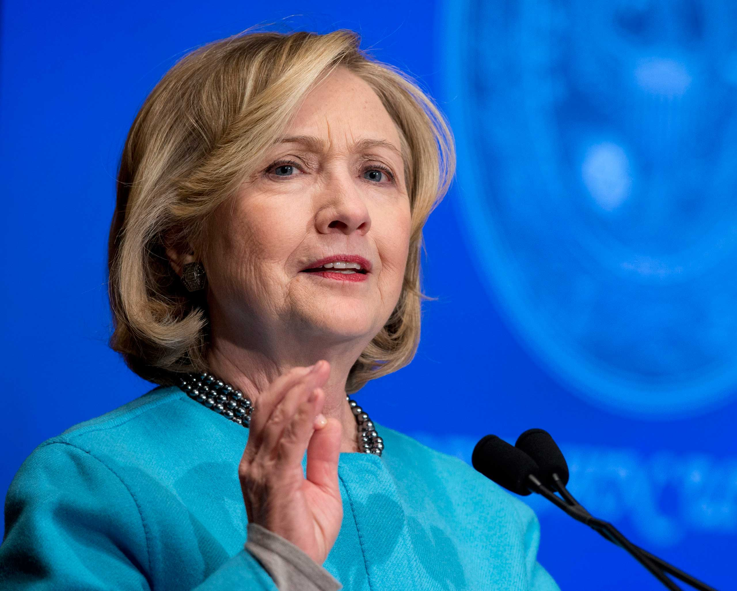 Former Secretary of State Hillary Clinton speaks at Georgetown University in Washington on Dec. 3, 2014.