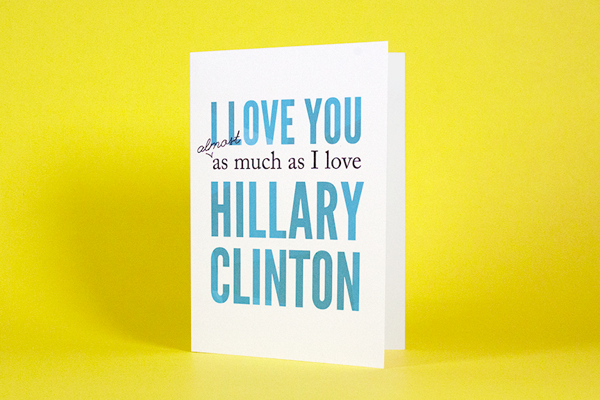 A Hillary Clinton greeting card for sale on Etsy, made by Kristen Myers.