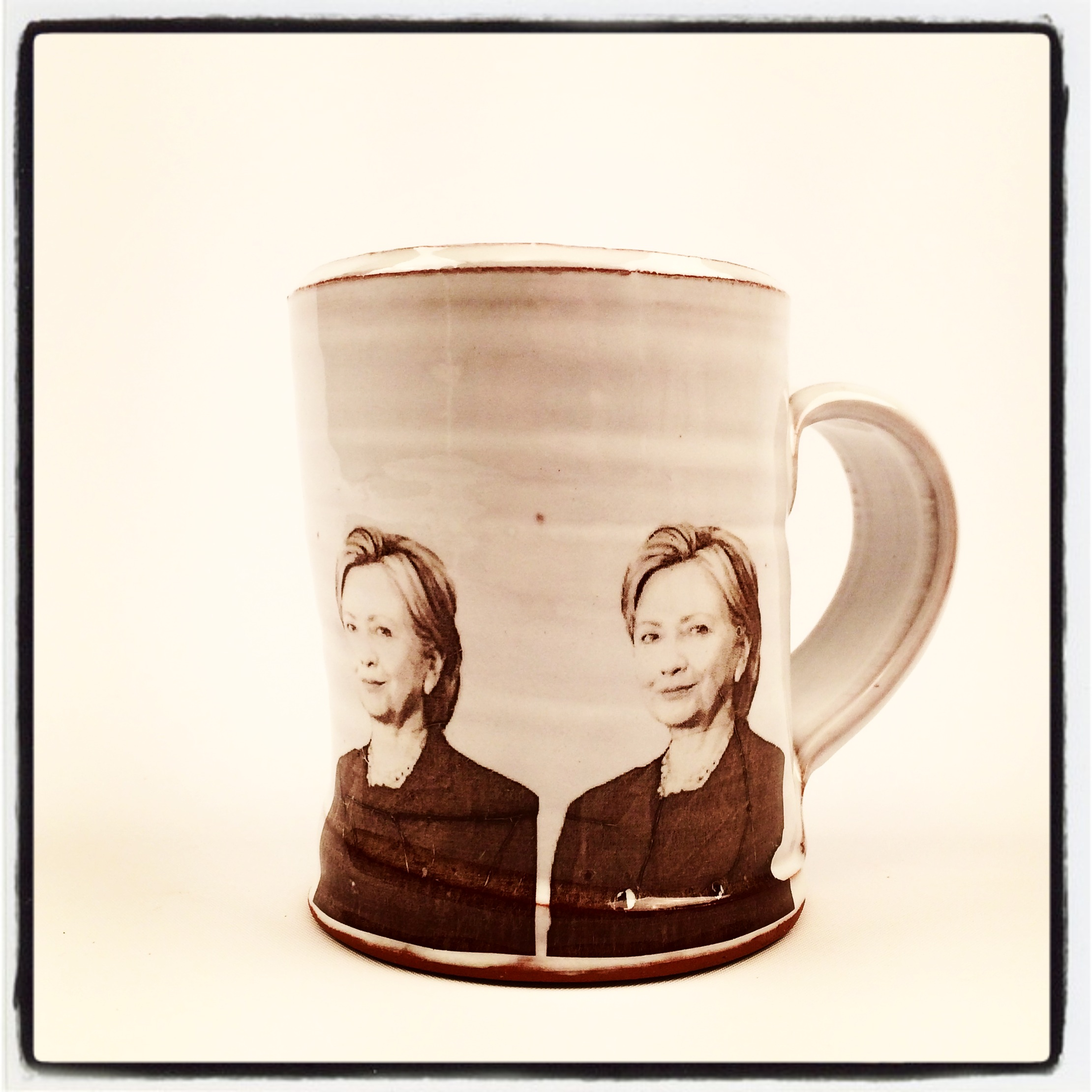 Hillary Clinton mug for sale on Etsy, made by ceramic artist Justin Rothshank.