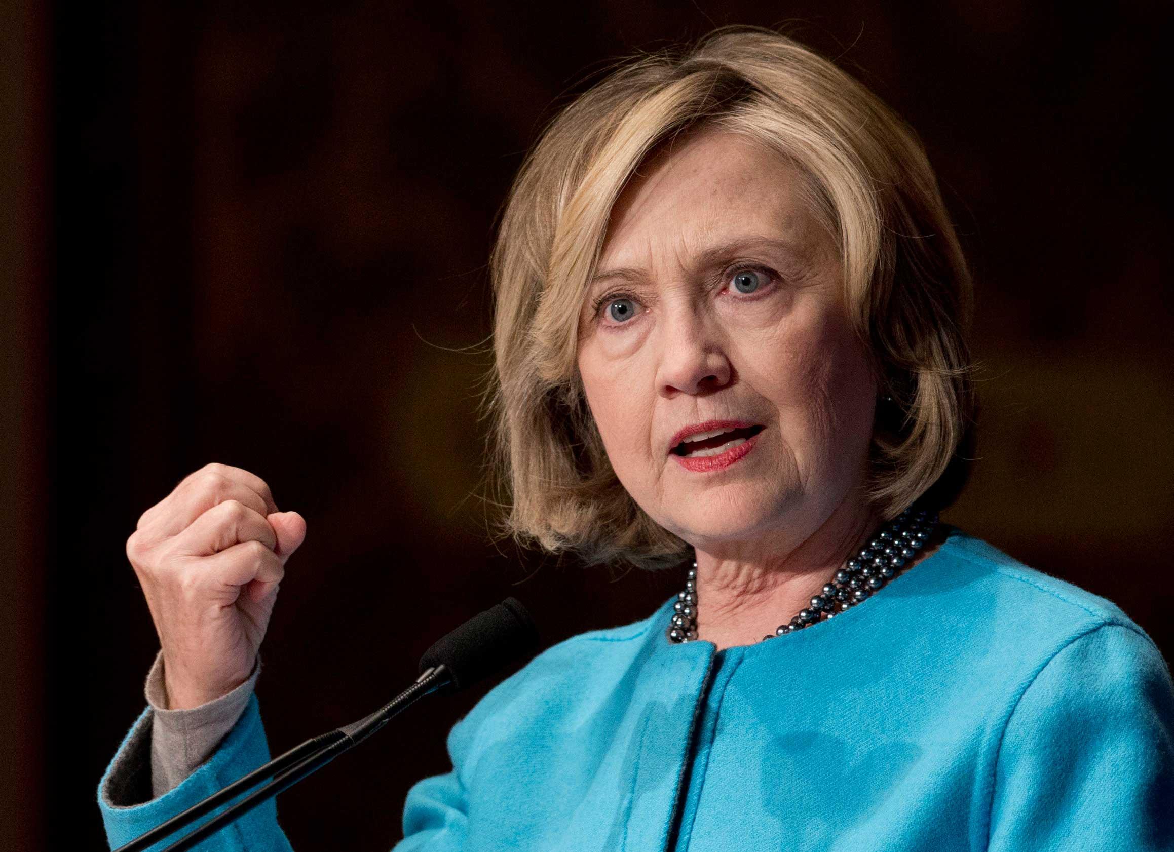 Former Secretary of State Hillary Rodham Clinton speaks in Gaston Hall at Georgetown University in Washington on Dec. 3, 2014.