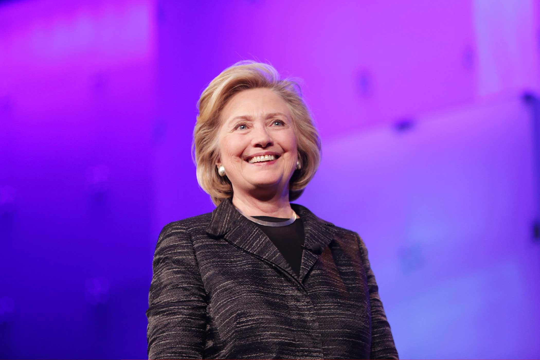 Former United States Secretary of State Hillary Clinton gives the keynote speech during LeadOn:Watermark's Silicon Valley Conference For Women at Santa Clara Convention Center on Feb. 24, 2015 in Santa Clara, California.