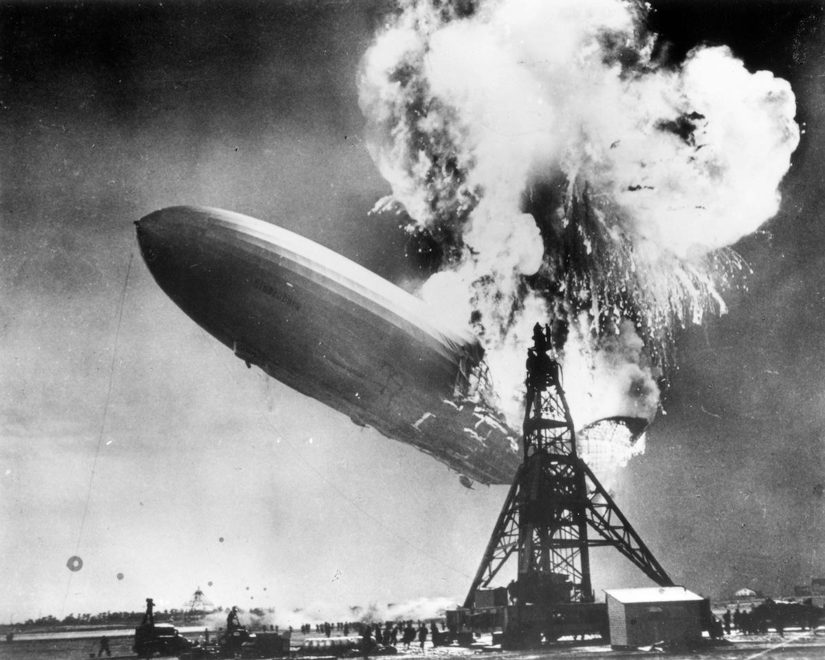 The Hindenburg disaster at Lakehurst, New Jersey, in 1937