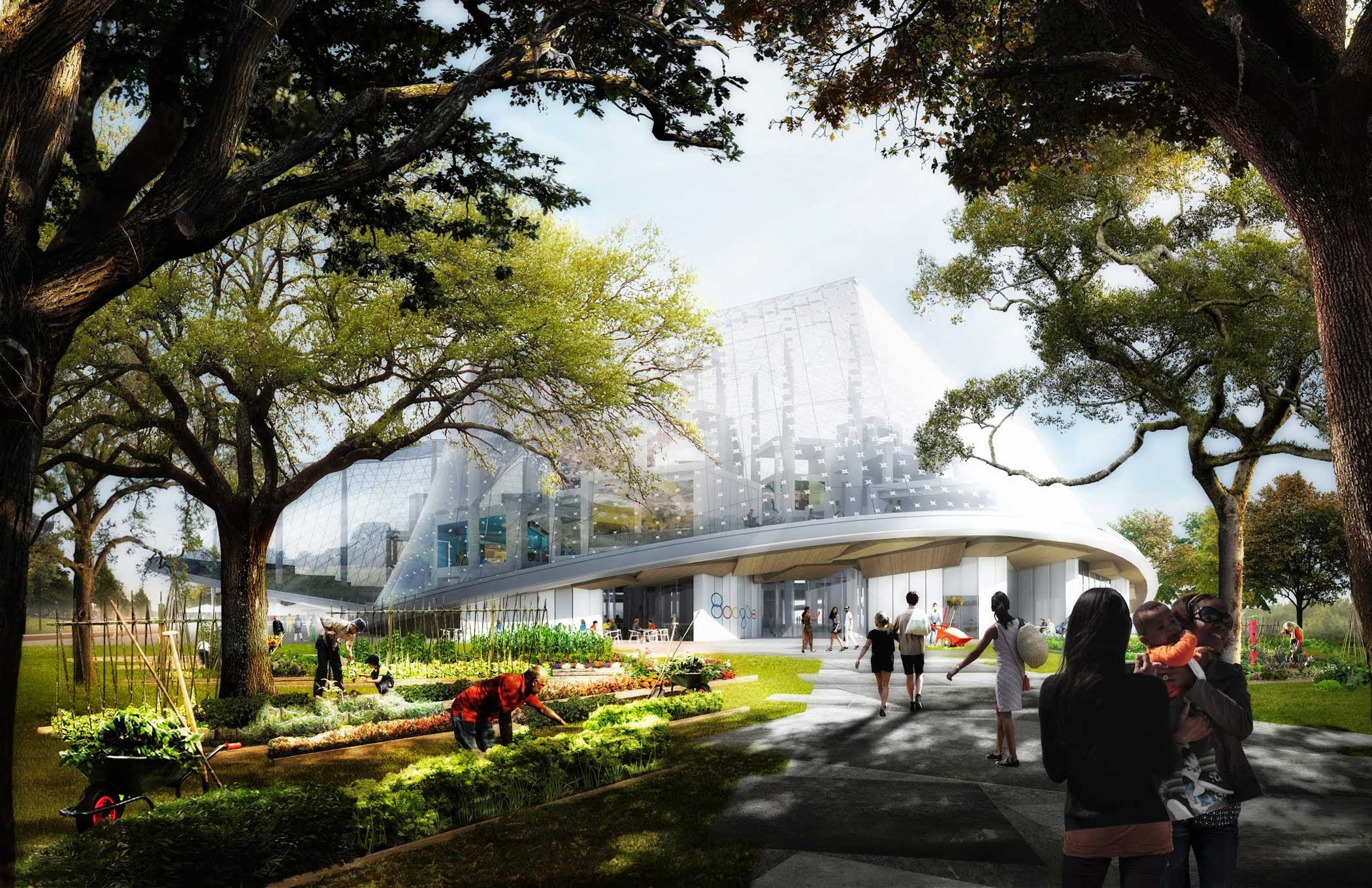 This rendering shows the west side of the proposed Huff project.                                                              At ground level, the environment is newly restored. Employees will be drawn from offices to the outdoors, to work alongside waterways and under trees. Mountain View residents can walk or ride along green corridors, eat at cafes, shop, play in parks, or work in the public community gardens.