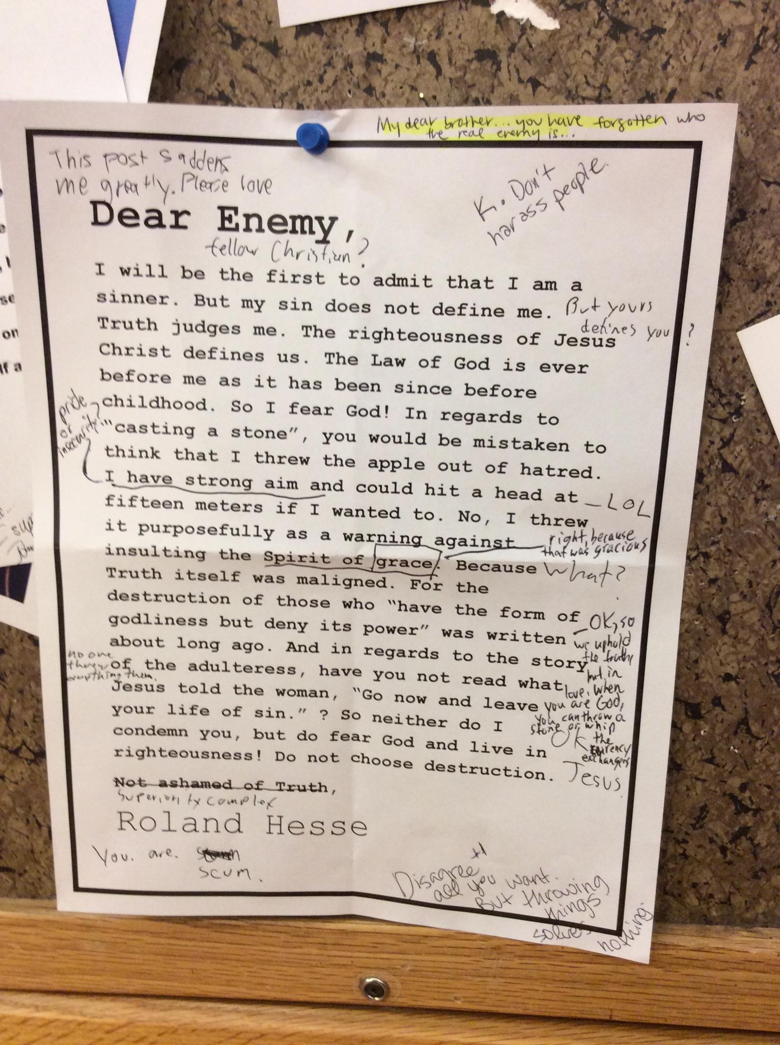 A note on a student bulletin board at Wheaton College in Wheaton, Ill., Feb. 24, 2015.