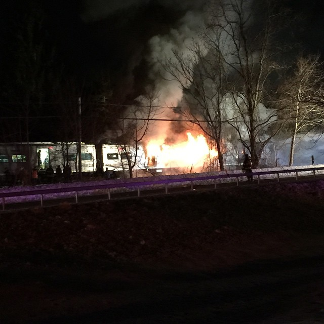 A fire broke out after a Metro-North train struck a vehicle in Valhalla, N.Y. on Feb. 3, 2015.