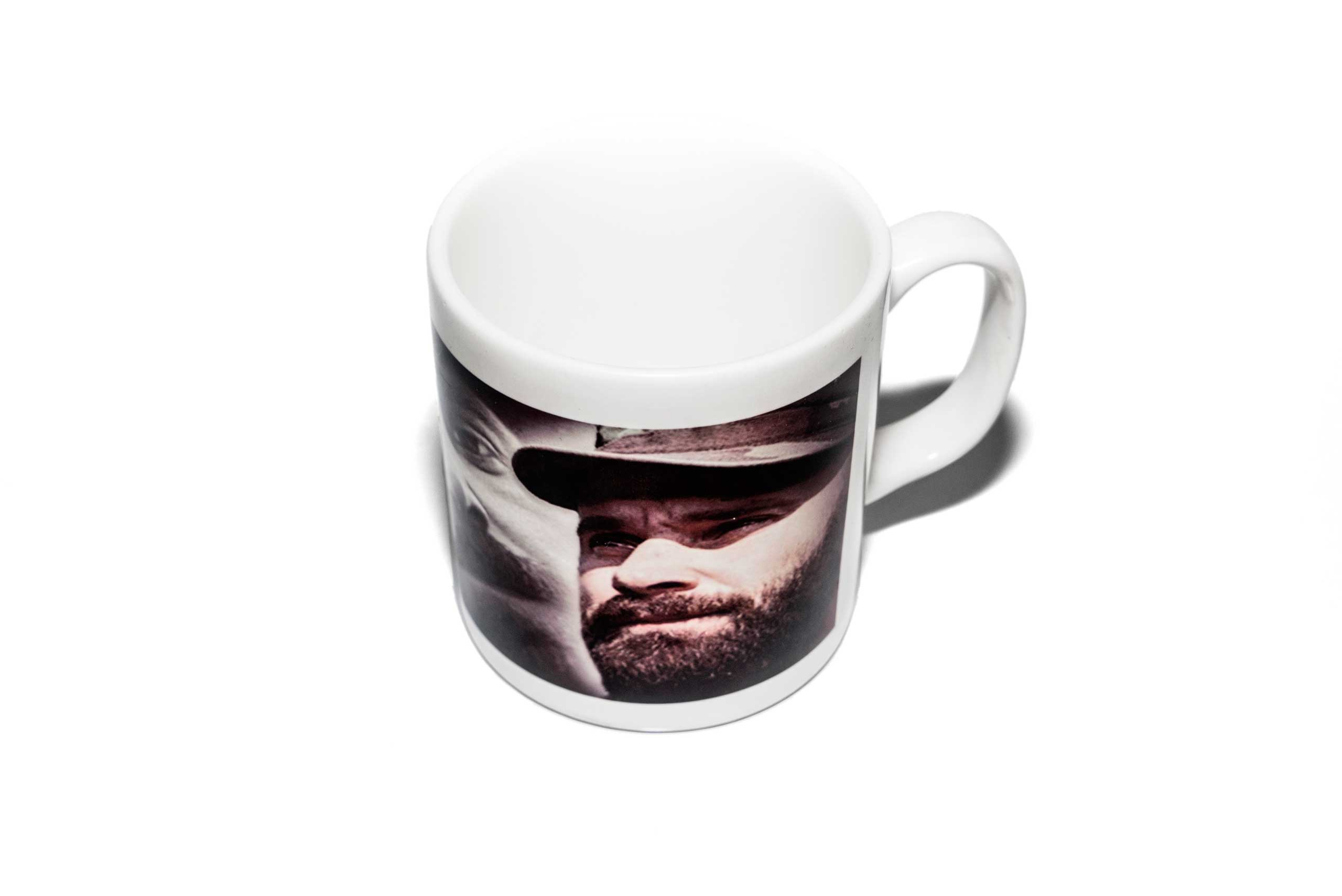 A mug with a militant commander's portrait on the side, found in a Islamic clothing and accessory shop in the Bagcilar district of Istanbul, Turkey.