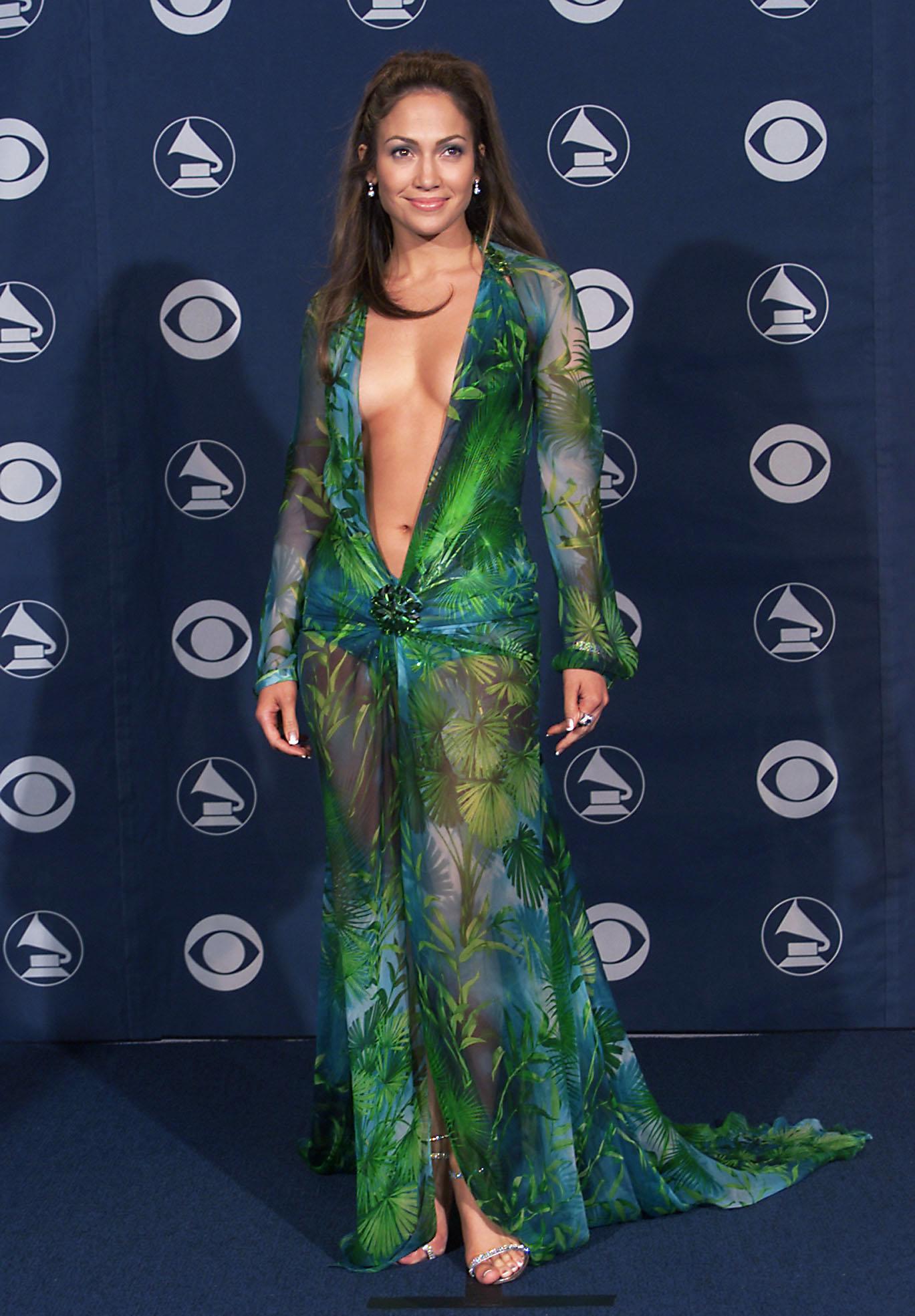 Jennifer Lopez wears Versace at the 42nd Grammy Awards held in Los Angeles on Feb. 23, 2000.