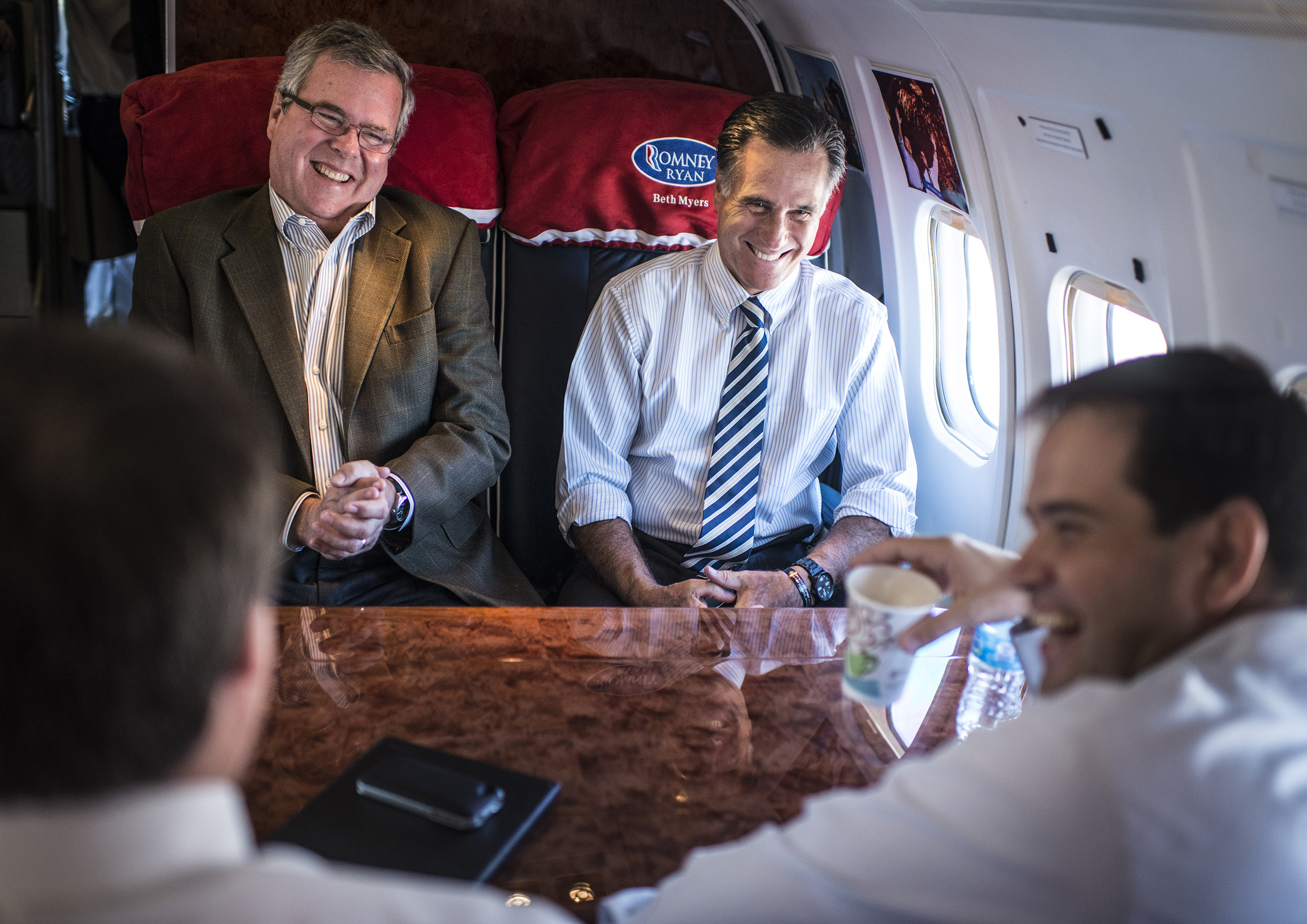 Republican nominee for President, Mitt Romney, campaigns around Florida with Governor Jeb Bush, left, Senator Marco Rubio, right, and Congressman Connie Mack, left back of head, in Coral Gables, Fla. on Oct., 31, 2012.